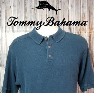 Tommy Bahama Mens Blue Polo XL Silk & Cotton